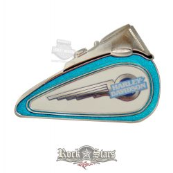 Harley Davidson Collectible Pin Gas Tank Turquoise with Cyber Wings #63148. fém motoros jelvény