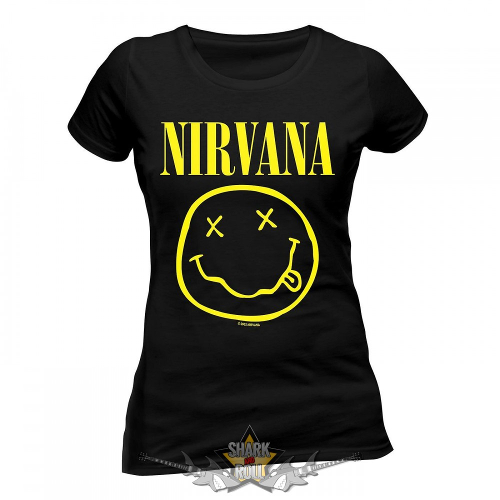 NIRVANA - SMILEY női póló - Shark n Roll - Rock- Metal - Webshop ... 506e80aa70