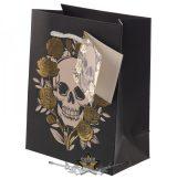 Ajándék táska - Koponyák és fémes hatás. 11x14. cm.  ajándékoknak, táska