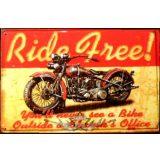 BIKER - RIDE FREE.  20X30.cm. fém tábla kép