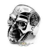 Terminator red eye - skull ring.  Steinless Steel. gyűrű