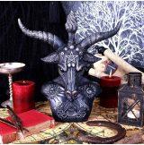 Baphomet Bust. Égi fekete és ezüst Baphomet mellszobor. 33cm.  fantasy figura,