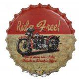 RIDE FREE - Bottle Cap Sign.  kerek fém tábla kép