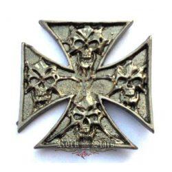 Iron cross - 4 skull,  BE. fém motoros jelvény
