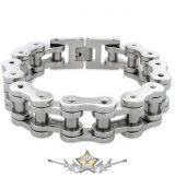 BIKERS - Motorcycle Chain Bracelet - Stainless Steel . 21.mm, chrom, karika + karabiner kapoccsal.  karkötő