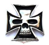 Iron cross - Skull,  fém motoros jelvény