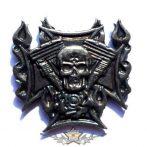 FIRE SKULL - IRON CROSS . KGJ.  nagyméretű fém motoros jelvény