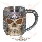 Skull Mug Fantasy warrior. 4639..  fantasy dísz,kehely