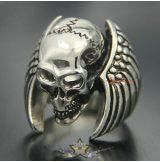 Angel wings - skull ring.  Steinless Steel. gyűrű