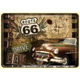 ROUTE 66 - Drive Eat.  fém képeslap