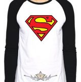 SUPERMAN - LOGO LS Baseball Shirt WHITE-BLACK. . import filmes  póló