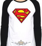 SUPERMAN - LOGO LS Baseball Shirt WHITE-BLACK. . import filmes  póló