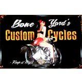 BIKER - CUSTOM CYCLES - BONE YARDS.  20X30.cm. fém tábla kép