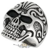 Vampire Skull Ring Tribal  Steinless Steel. gyűrű