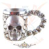 Skull tankard with fixed metal- Koponya tartály rögzített fémmel. 4656.   fantasy dísz,kehely