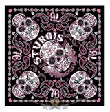 Official 76th Sturgis Motorcycle Rally -  Sugar Skull Bandana.USA.  vászon kendő