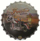 ROUTE 66 - FREEDOM.  Bottle Cap Tin Sign Cafe Bar Pub Metal Art Poster Wall Plaque. kerek fém tábla kép