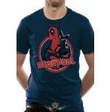 DEADPOOL - LOGO POINT T-Shirt NAVY.  Marvel Comics.   filmes, movie  póló