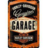 Harley Davidson - GARAGE.  fém képeslap