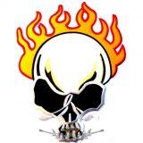 FIRE SKULL.  hátfelvarró