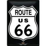 ROUTE 66 - Classic logo.  fém képeslap