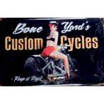 CUSTOM CYCLES - BONE YARD'S -  Metal Sign.  20X30.cm. fém tábla kép