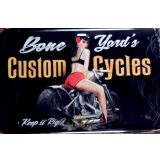 CUSTOM CYCLES - BONE YARD'S -  Metal Sign.  20X30.cm. fém tábla kép