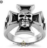 Iron cross - Skull. Steinless Steel. gyűrű