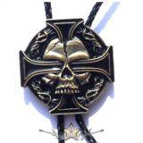 Amerikai nyakkendő - Iron skull - Fonott bőr nyakkendő,   amerikai nyakkendő, nyaklánc, medál
