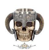 Viking Skull Helmet - Tankard Historical Mug. 19. cm. Viking Skull  történelmi bögre.  korsó, kehely