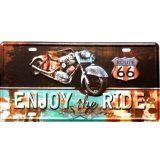 ROUTE 66 - E3NJOY THE RIDE. fém dekorációs tábla.