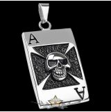 IRON CROSS - ACE SKULL DOG TAG NECKLACE     nyaklánc, medál
