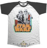 Star Wars - Men's Raglan Tee.  Classic Troopers & Logo. . filmes  póló