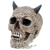 Celtic Efreet Horned Demon Skull.  koponya figura