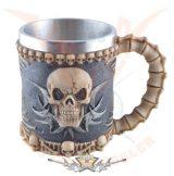 Skull tankard with fixed metal. 4206..  fantasy dísz,kehely
