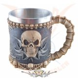 Skull tankard with fixed metal. 4206..  fantasy dísz,kehely