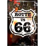 ROUTE 66 - THE MOTHER ROAD - LOGO.  20X30.cm. fém tábla kép