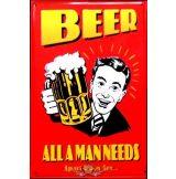 BEER - ALL A MAN NEEDS.  20X30.cm. fém tábla kép