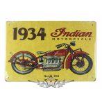 BIKER -  Indian motorcycle. 1934. biker tin metal sign.  20X30.cm. fém tábla kép