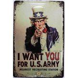 I want You for U.S. Army - Nearest Rectruiting.  20X30.cm. fém tábla kép