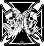ANGEL - DEMON IRON CROSS.  20X20.cm. hátfelvarró
