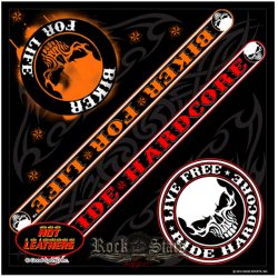 Biker For Life * Ride Hardcore. Skull Bandana. 2017.USA.  vászon kendő