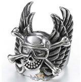 Wing Biker - skull ring.  Steinless Steel. gyűrű