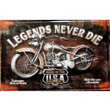 BIKER - LEGENDS NEVER DIE - MADE IN THE USA.  20X30.cm. fém tábla kép