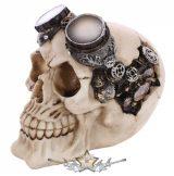 Koponya Steampunk 3 - Skull Head Ivory With Goggles.   SK248.. koponya figura