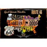 ROUTE 66 - GET YOUR KIKCKS.  20X30.cm. fém tábla kép