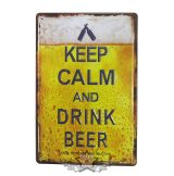 BEER - Keep Calm & Drink Beer Vintage Tin Metal sign.  20X30.cm. fém tábla kép