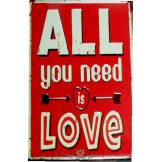 ALL YOU NEED IS LOVE -  Metal Sign.  20X30.cm. fém tábla kép