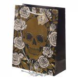 Ajándék táska - Koponyák és fémes hatás. 28 x 32 cm..  ajándékoknak, táska
