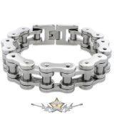 Motorcycle Chain Bracelet - Stainless Steel . 18.mm ,karika + karabiner kapoccsal.  chrom  karkötő